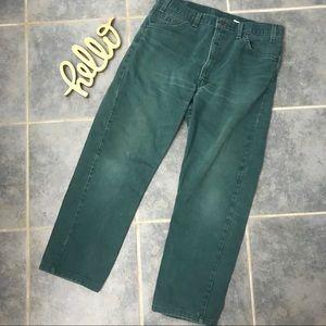 Vintage Levi's 505 Orange Tab Green Jeans 36 / 30